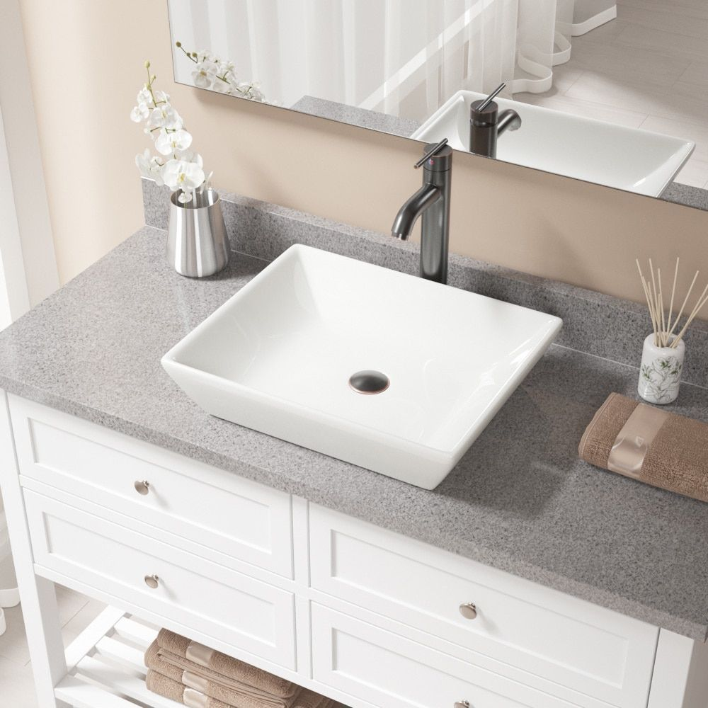 MR Direct V370 Bisque Porcelain Sink with Antique Bronze Faucet and ...