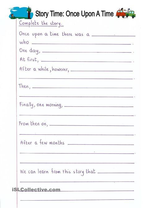 Read And Complete - Once Upon A Time (story Writing) Writing Worksheets, Creative  Writing Worksheets, 3rd Grade Writing