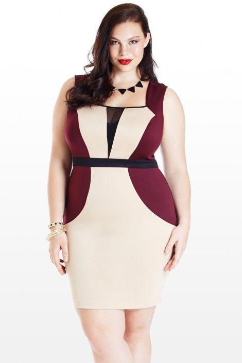 Wine, Beige & Black Color Blocked Dress ❥ DelicateCurves