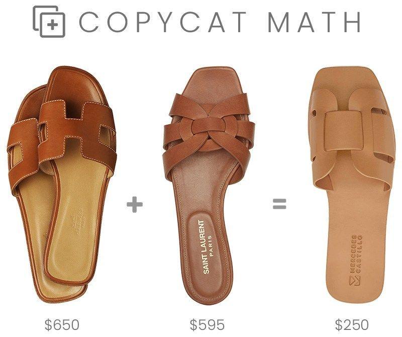 8b249c9d8e Copycat Math - Hermès Oran + Saint Laurent Tribute Nu Pieds = Mercedes  Castillo Coraline Slide Sandals in tan leather