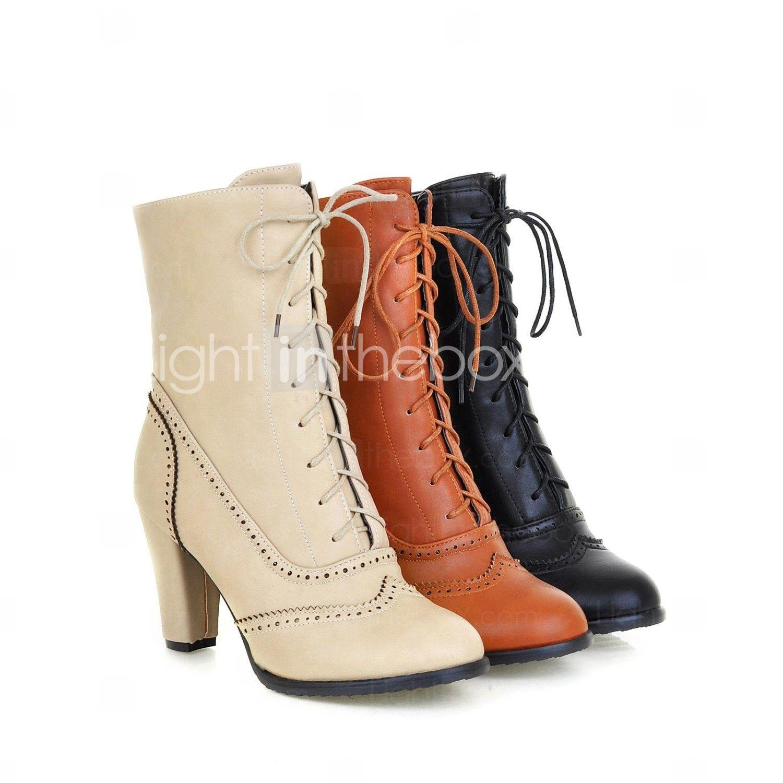 chaussures femmes bout rond talon trapu bottines wiht plus de