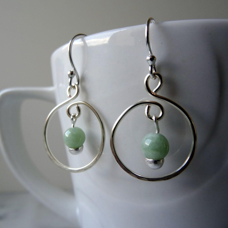 Jade Hoop Earrings Jadeite Genuine Hand Forged Drop Green Boho Chic Uk Pinned By