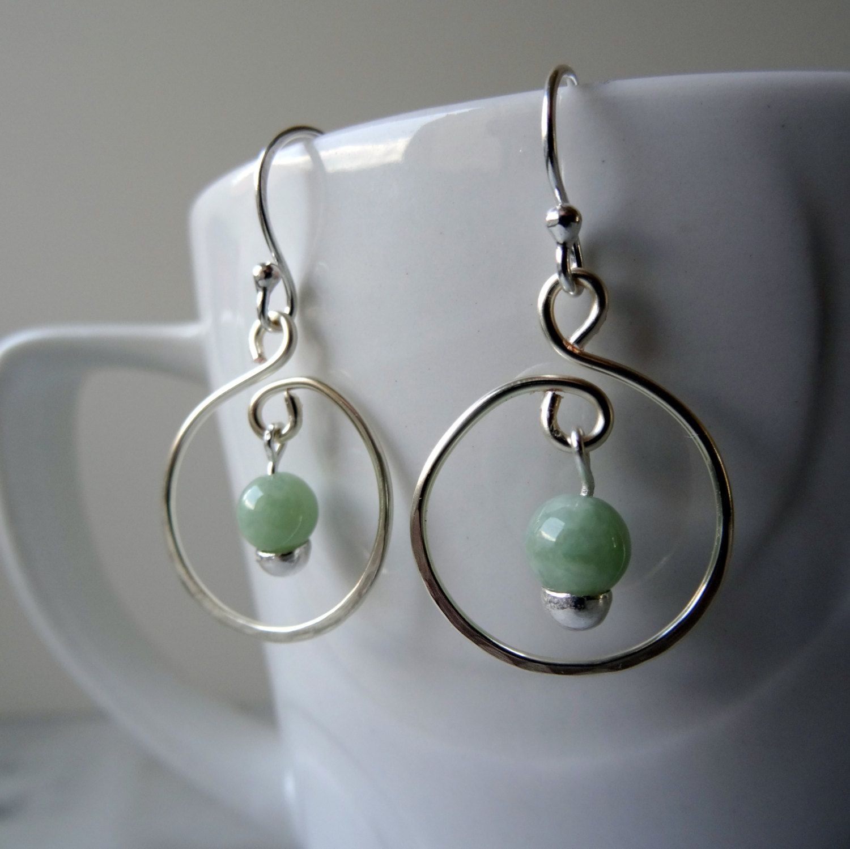 Jade Hoop Earrings Mint Jadeite Green Heart Chakra Jewellery Semi Precious