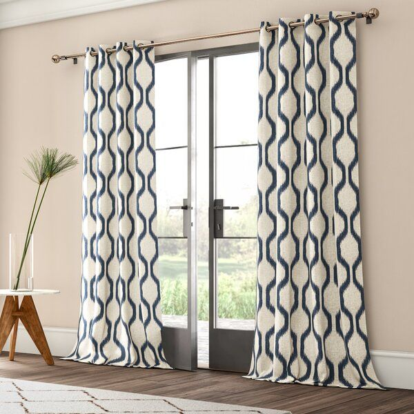 Valdovinos Geometric Room Darkening Grommet Single Curtain