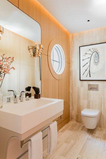 wellesley family home powder room with oak paneling travertine rh pinterest com