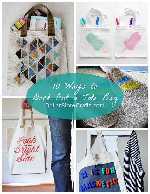 10 Cute Ways To Decorate A Plain Tote Bag Plain Tote Bags Diy
