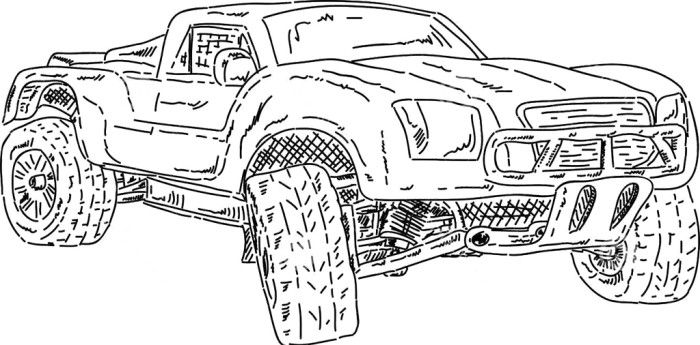 off road race short truck coloring page