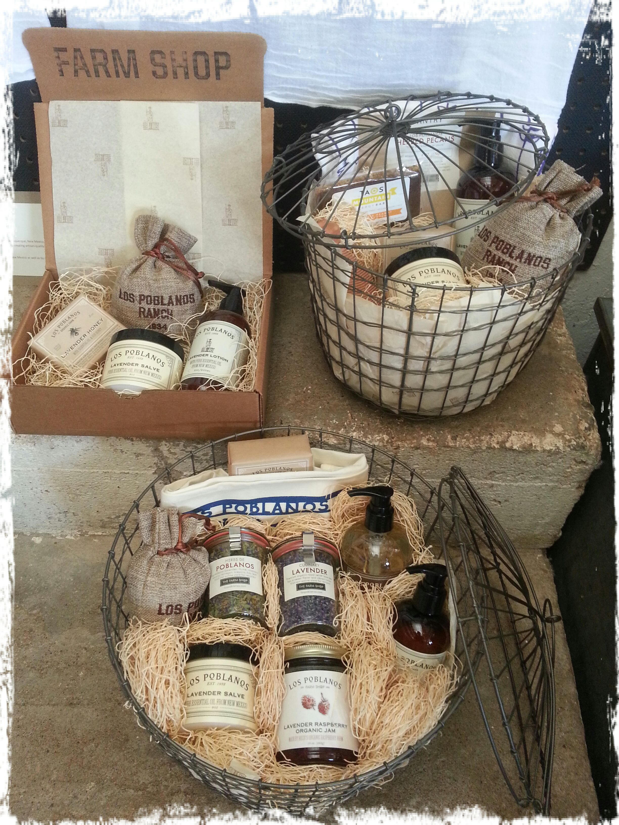 Gift baskets from the farm shop featuring our lavender