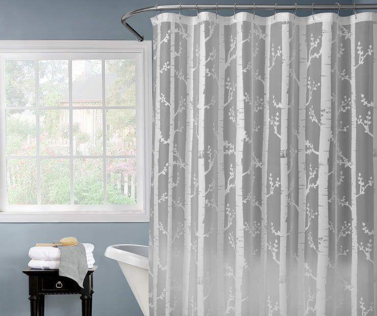 Just Home White Birch Shower Curtain Curtains Tree Shower