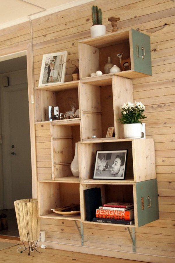 alte schubladen wandregale holz stauraum ideen Wohnzimmer - wohnzimmer ideen retro
