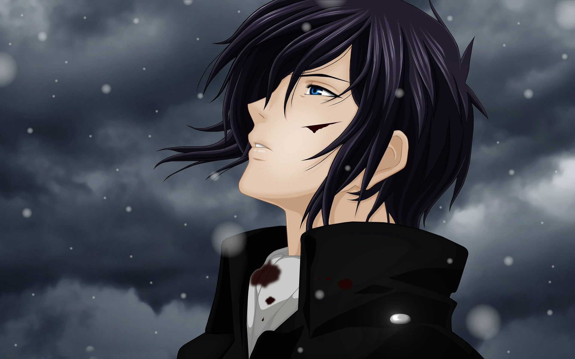 Hd sad boy anime snow handsome dark clouds wallpaper
