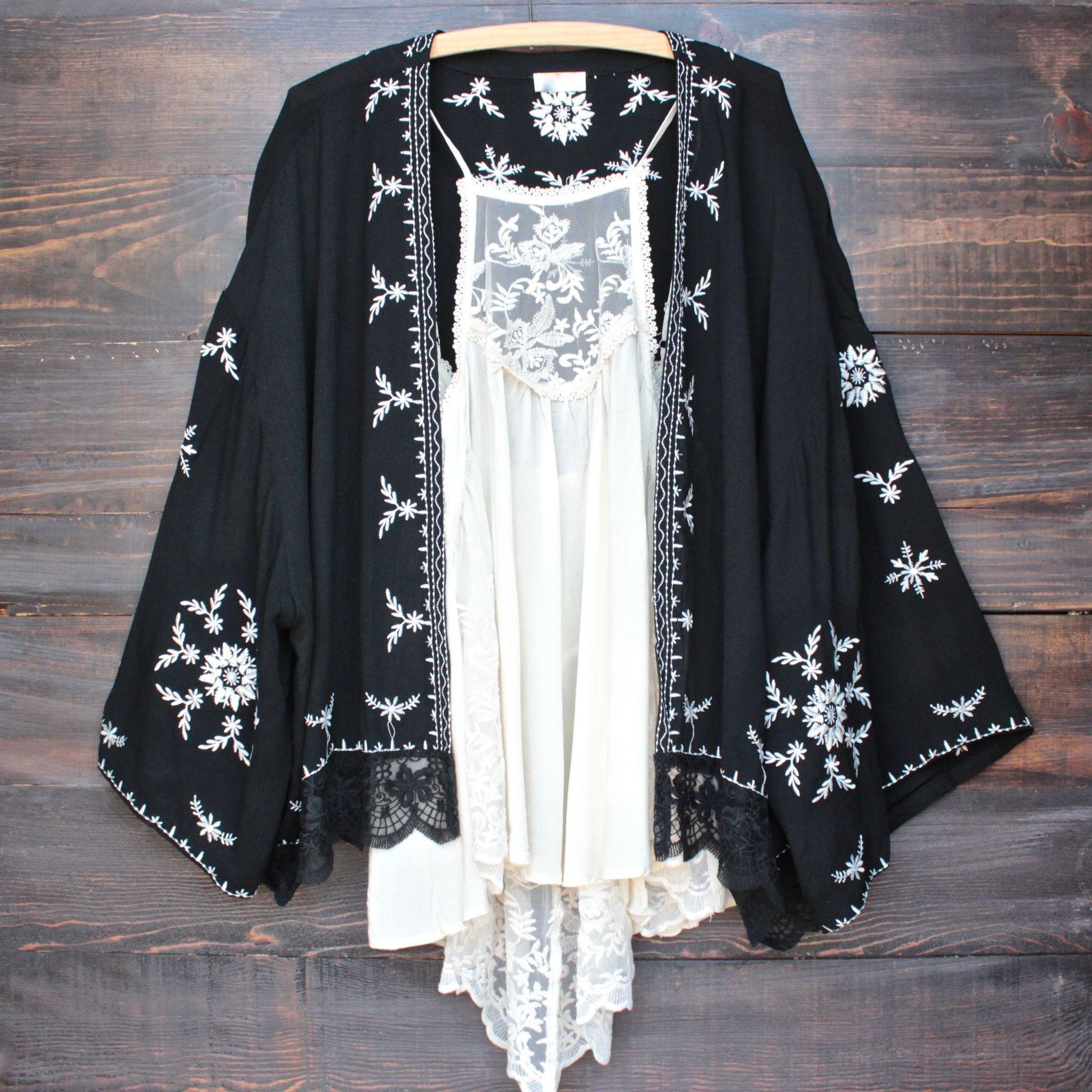 Boho embroidered kimono jacket - black | Kimono jacket, Kimonos ...