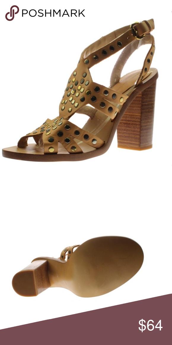 2b61f6a2df1 Zara Tan LEATHER Studded Heels Sandals Zara Tan Leather Studded Heels  Sandals. SIZE  8 Heel Height  4 1 2