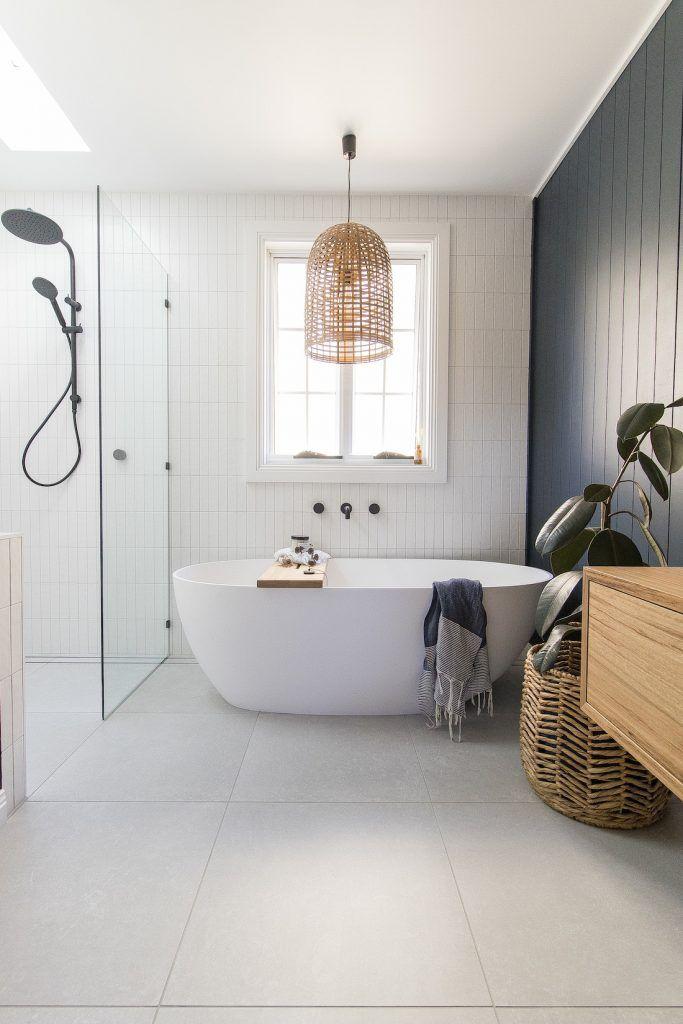 Room tour: A stunning deep blue, coastal luxe bathroom