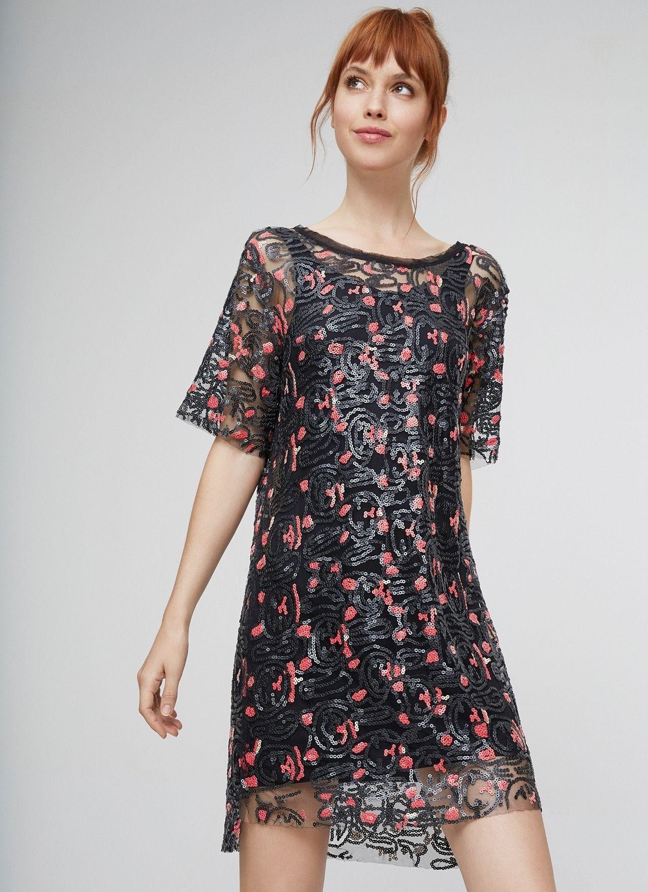 Vestido lentejuelas con transparencias colecci n for Vestidos adolfo dominguez outlet online