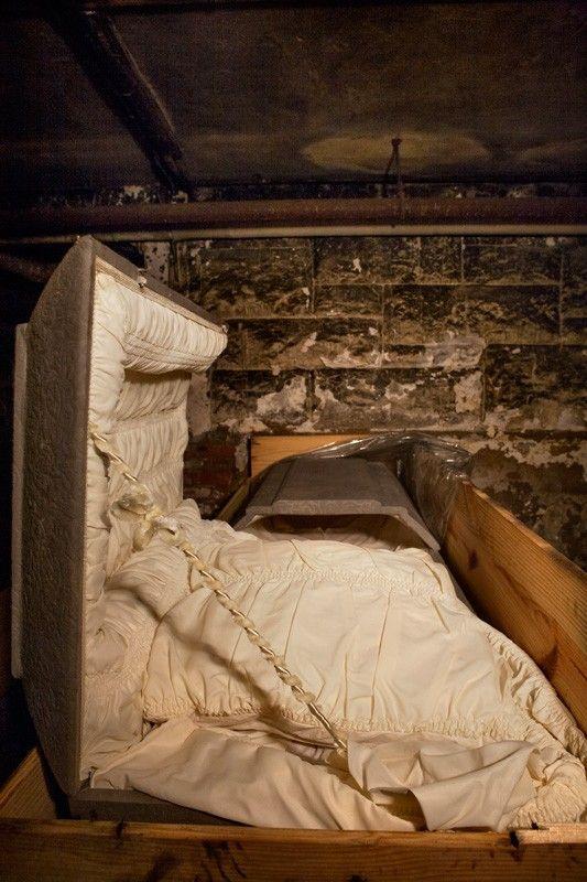 Brand new casket in basement of abandoned hospital; Northwood Asylum