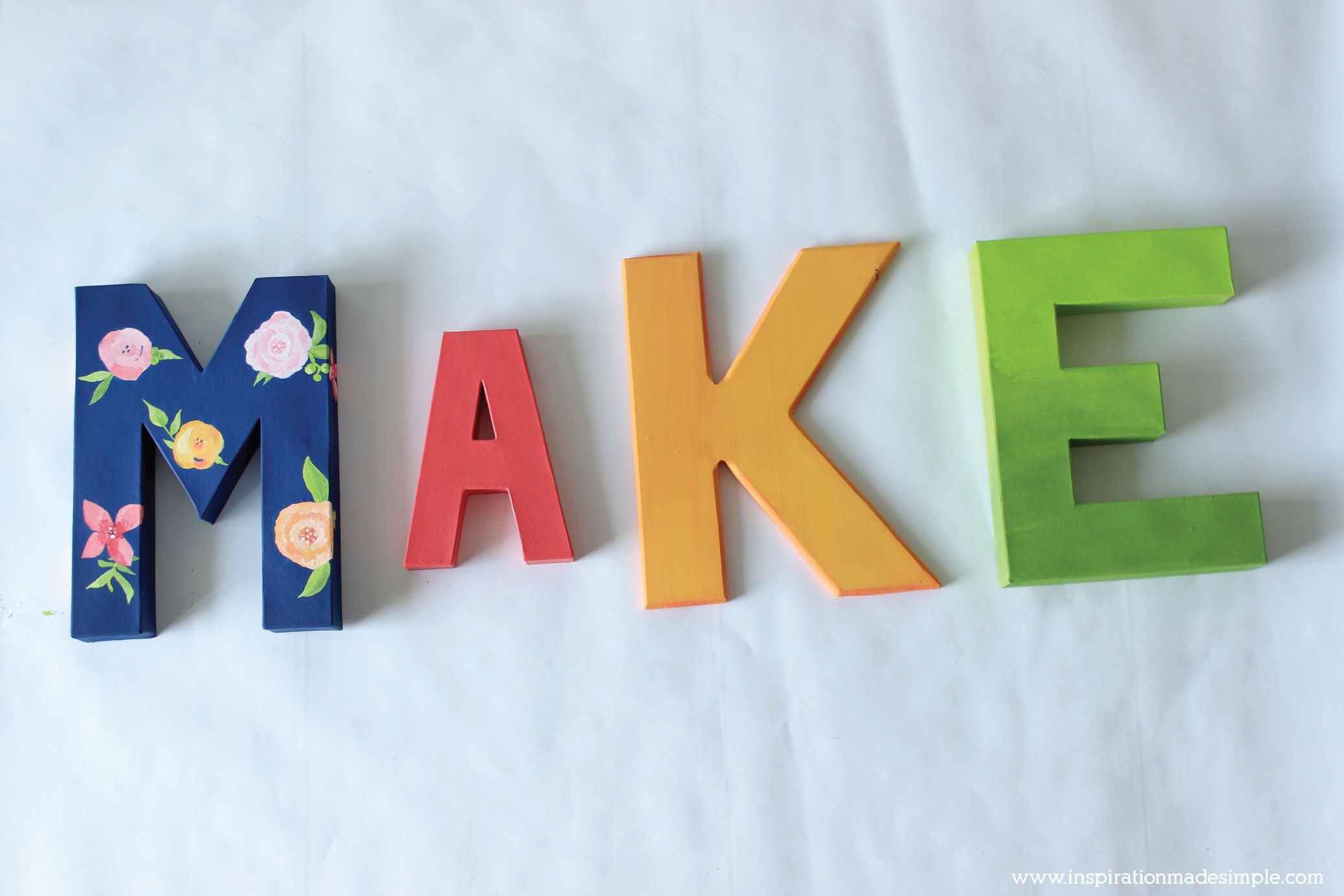 Diy Letras Decorativas Diy Painted Letters Navy Blue With Floral Letras