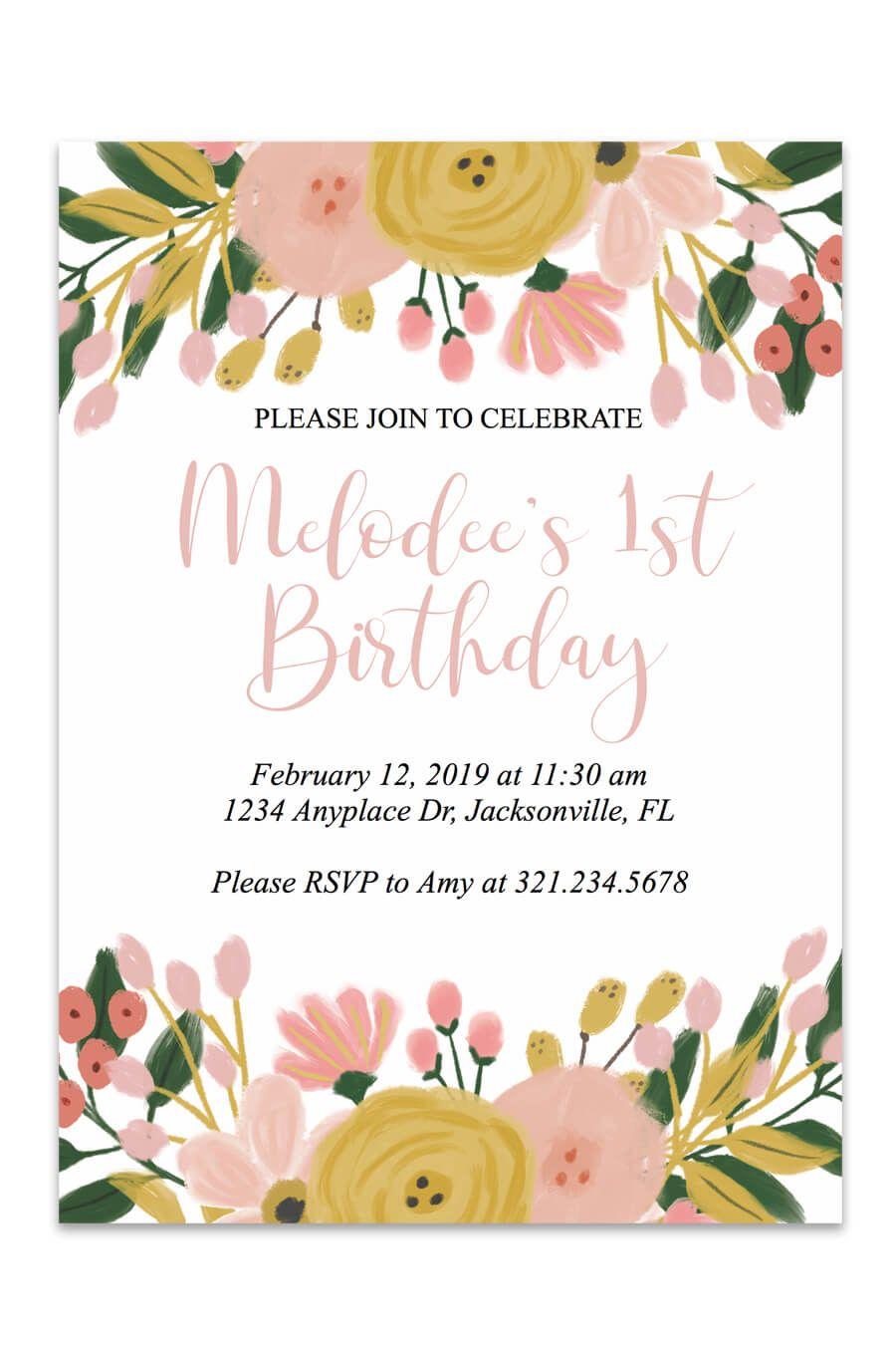 Birthday Printable Invitation (Whimsical Botanical) | Printable birthday  invitations, Party invitations printable, Free birthday invitation templates