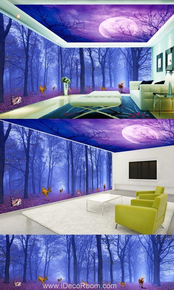 living room art prints%0A  D Forest Deer Moon Ceiling Wall Murals Wallpaper Paper Art Print Decor  IDCQW