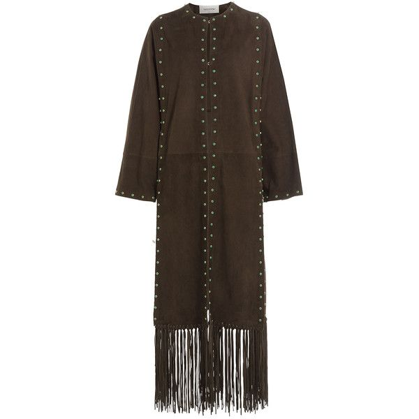 Valentino Suede Coat (23.325 BRL) ❤ liked on Polyvore featuring outerwear, coats, brown, shrug cardigan, boho coat, slim fit coat, slim long coat and long suede coat