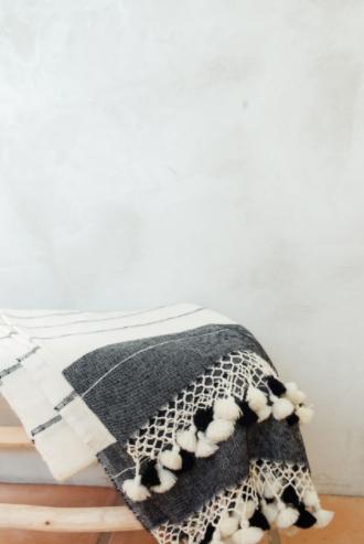 Fringe Throw Blanket / White