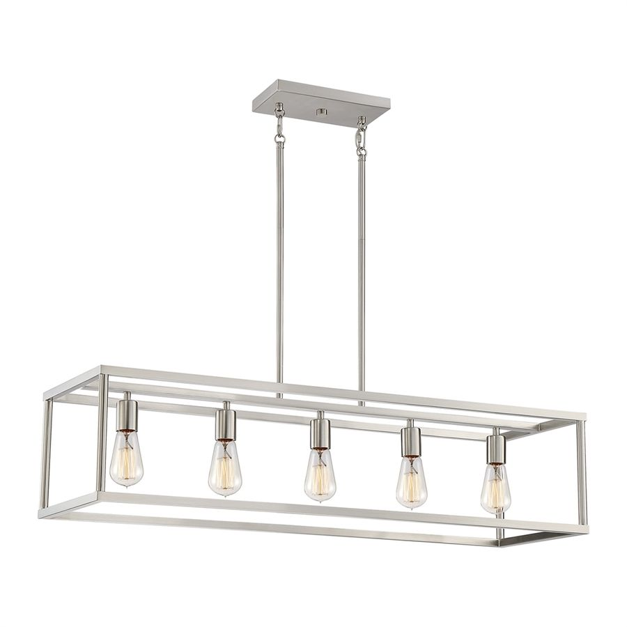 Quoizel New Harbor 38 In W 5 Light Brushed Nickel Kitchen Island Light With Shade Lowes Com Industrial Kitchen Island Lighting Kitchen Island Lighting Brushed Nickel Chandelier