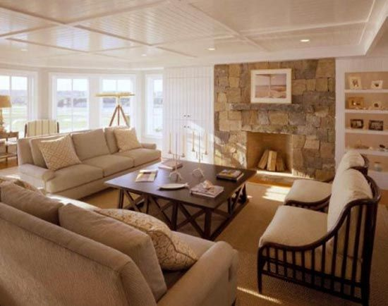 cape cod interior style living room configuration Family Rooms