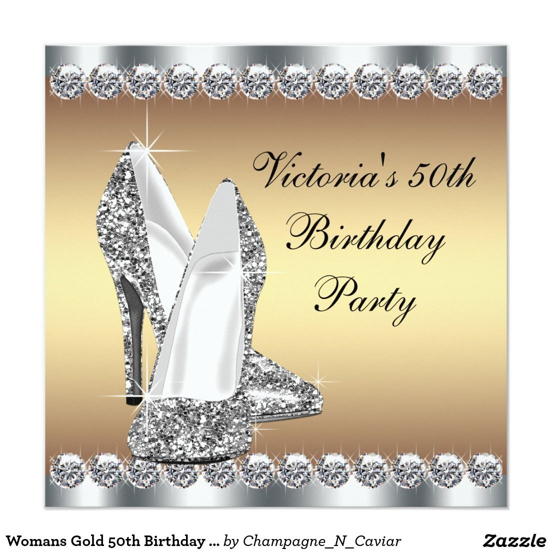 Womans Gold 50th Birthday Party 5.25x5.25 Square Paper Invitation ...