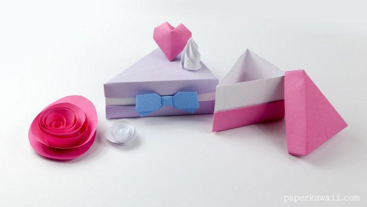 Origami Cake Slice Box Instructions Packaging Pinterest