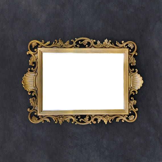 Vintage Gold Accent Mirror Ornate Mirror Flowers And Shell