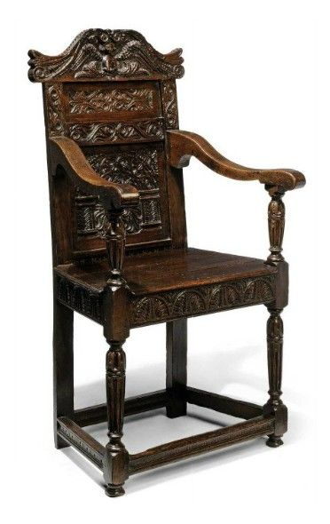 An Elizabethan Oak Armchair Late 16th Century The Profusely Carved Back Back With Scrolling Crest Centred With A Oak Armchair Renaissance Furniture Armchair