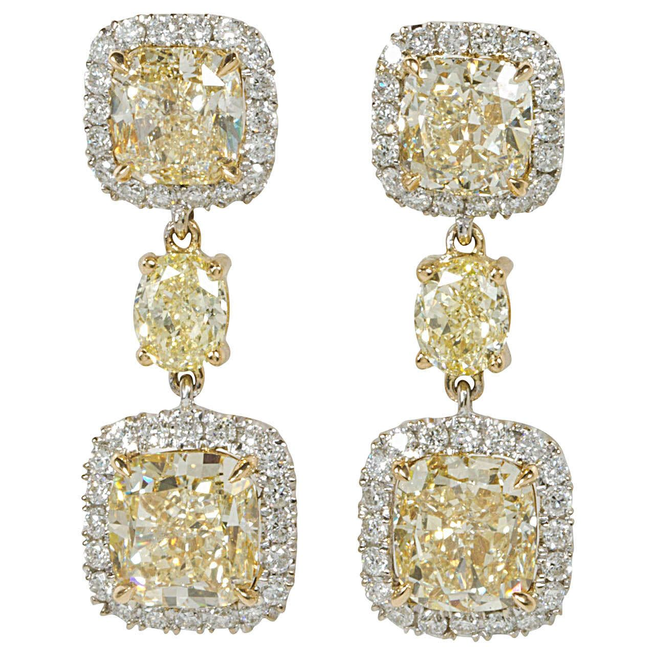 Cushion Cut Fancy Yellow Diamond Drop Earrings  From A Unique Collection  Of Vintage Drop Earrings