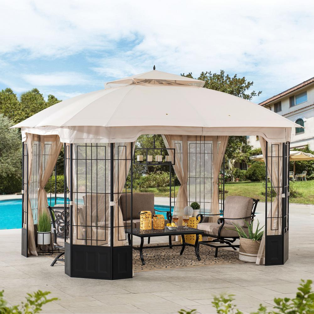 Sunjoy Harlem 10 Ft X 12 Ft Steel Gazebo With Beige Canopy A101012500 The Home Depot In 2020 Patio Gazebo Steel Gazebo Gazebo