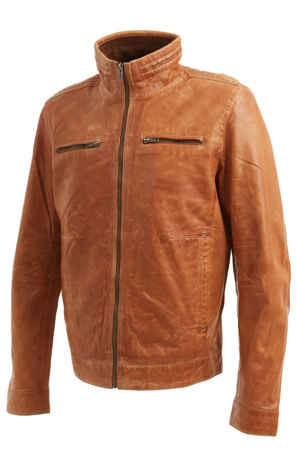 Mens Tan Brown Leather Biker Jacket With Stitch Detail Faith Leather Affordable Leather Jacket Leather Jacket Men Leather Biker Jacket [ 1600 x 1000 Pixel ]