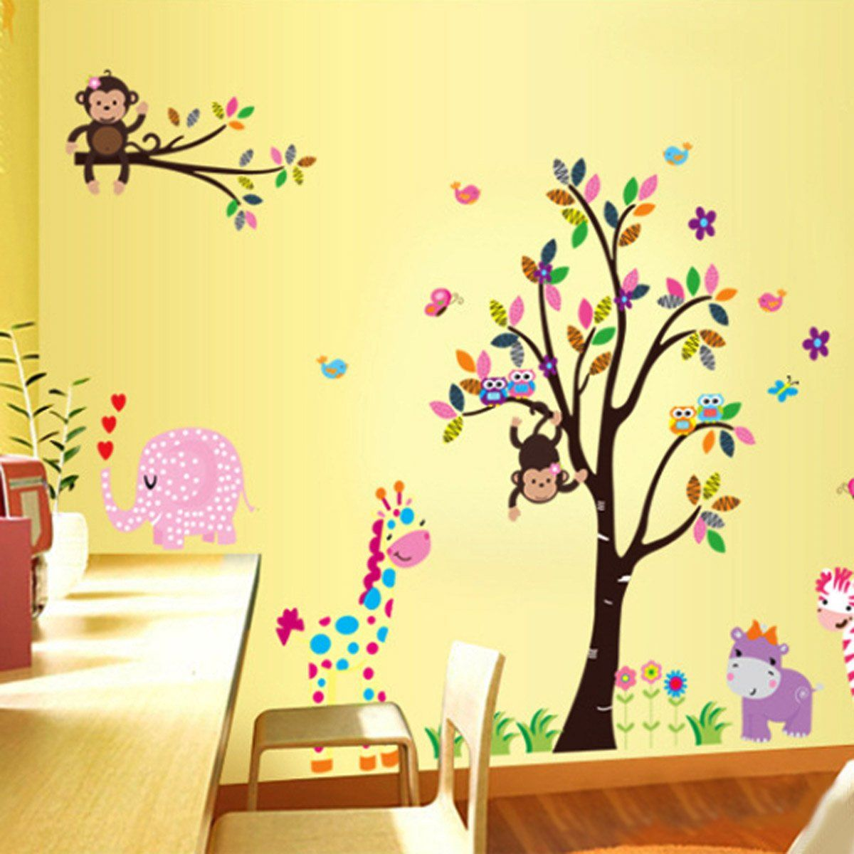 Yesurprise New PVC Removable Zoo Animal with Monkey Playing on Tree ...