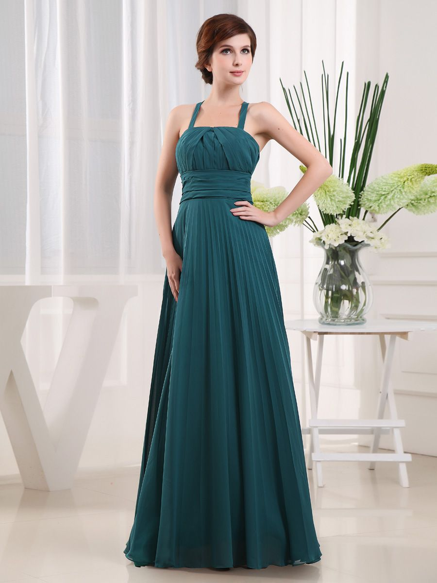 A line chiffon evening dress with x back and pleated design brands