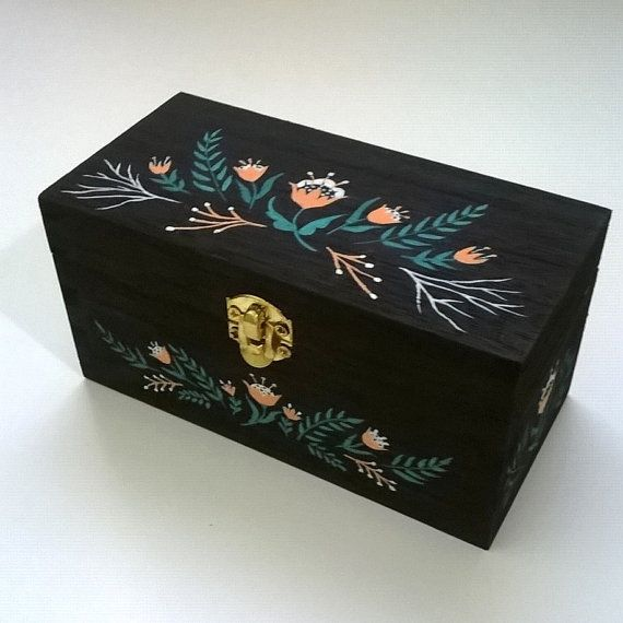 Hand Painted Wooden Box Crafty Painted Wooden Boxes Wooden Box