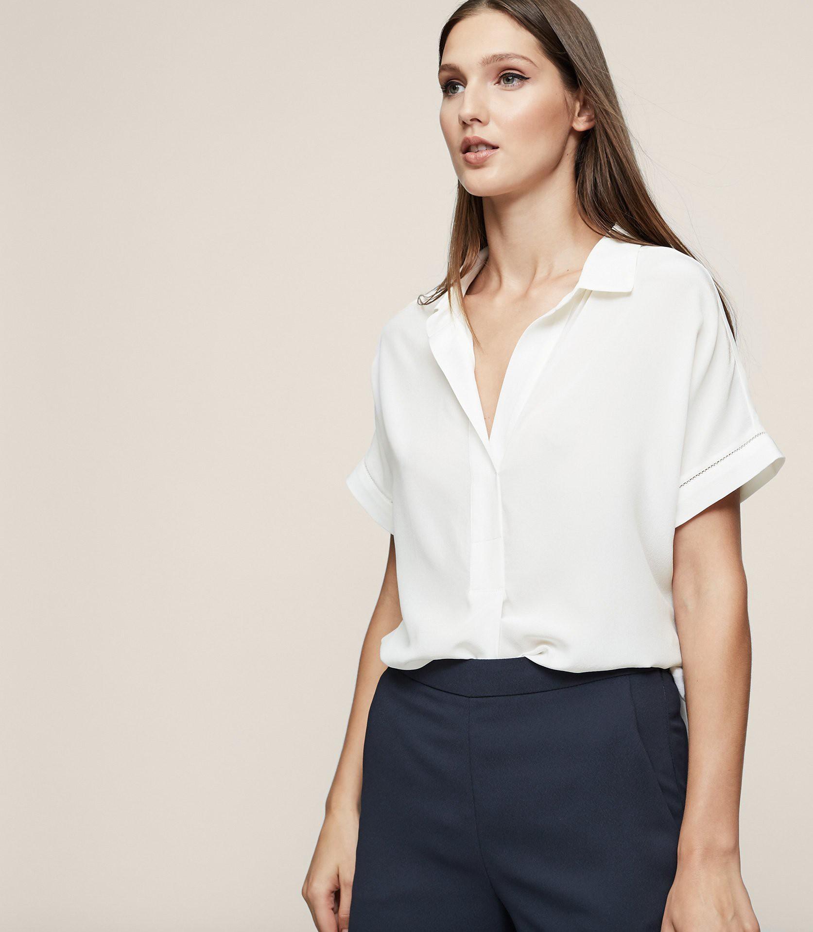 8a69b62f648359 Reiss Palma Open Collar Silk Shirt Off White - 10