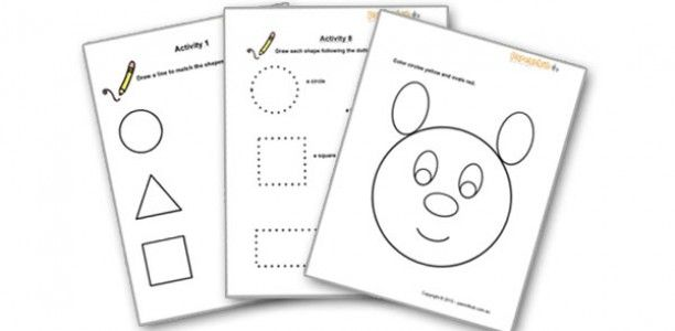 Shape worksheets for preschoolers (2-4 year olds