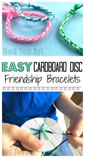 Easy Friendship Bracelets with Cardboard Loom is part of Yarn friendship bracelets, Yarn bracelets, Friendship bracelets easy, Camping crafts, Crafts for kids to make, Crafts for kids - How to make Friendship Bracelets with Cardboard Loom  An easy way to make a classic Friendship Bracelet with young children