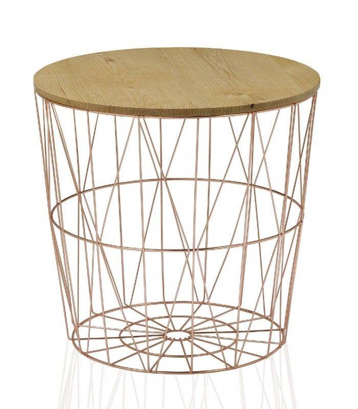 set de 2 tables basse design rondes en bois et chrome - Set De Table Scandinave