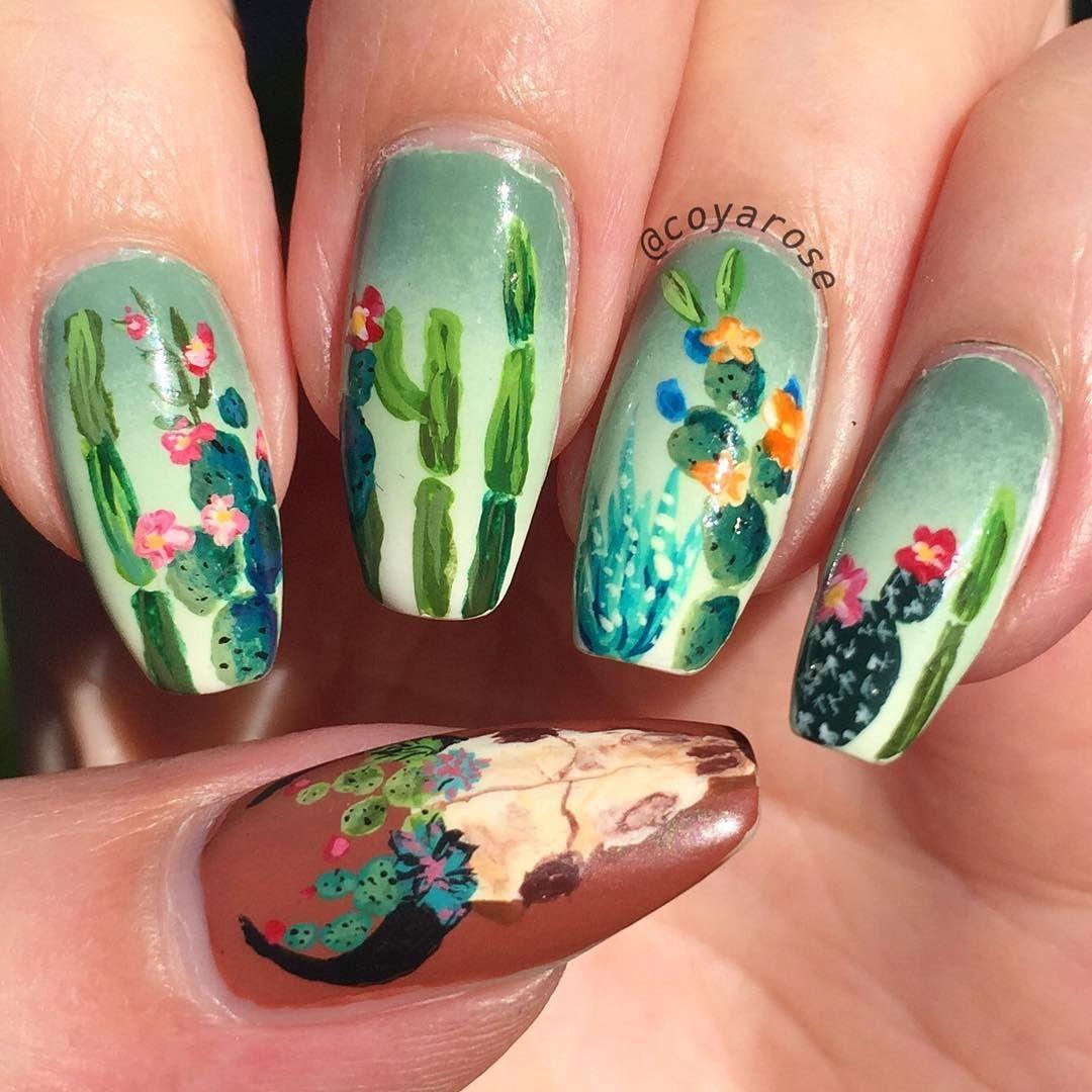 Southwestern cactus succulent nails nail art | Nailed it ...