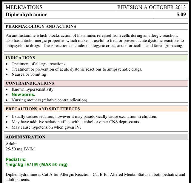 Diphenhydramine | EMS | Pharmacology nursing, Icu nursing