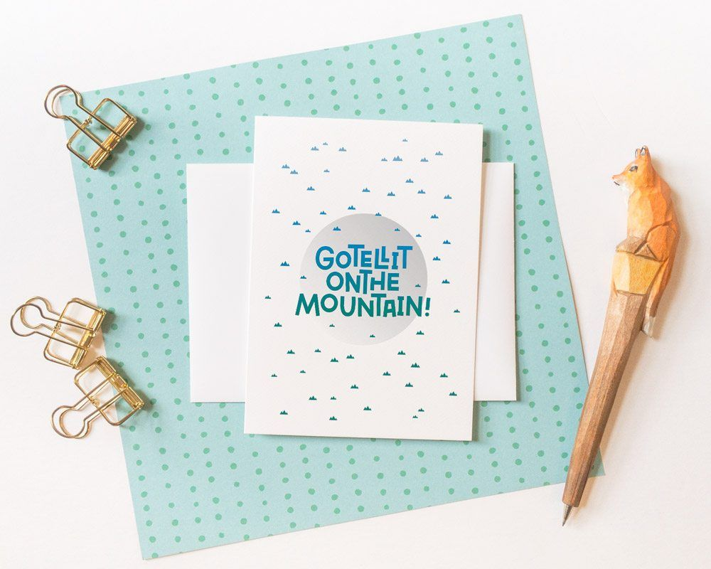 Christmas card design with carol song lyric. Go tell it on the mountain. Holiday greeting ca ...