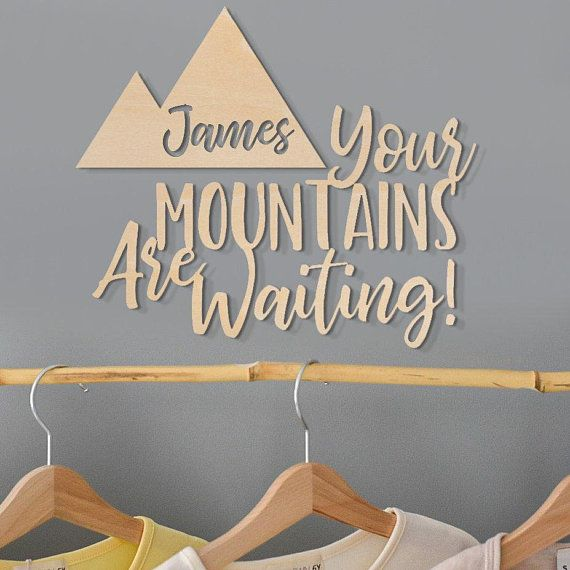 large wooden plywood name wall sign quote 2 sizes mountain rh pinterest com