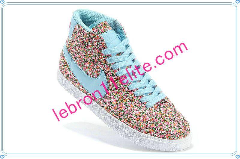 quality design fef48 0d7d9 Buy Nike Blazers Cheap Nike Blazer Mid Flower Print Womens Sky Blue Moon  Pink Green With