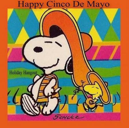 Happy Cinco De Mayo Snoopy And Woodstock In Mexican Garb With Woodstock Playing Guitar Snoopy Images Snoopy Love Snoopy Funny