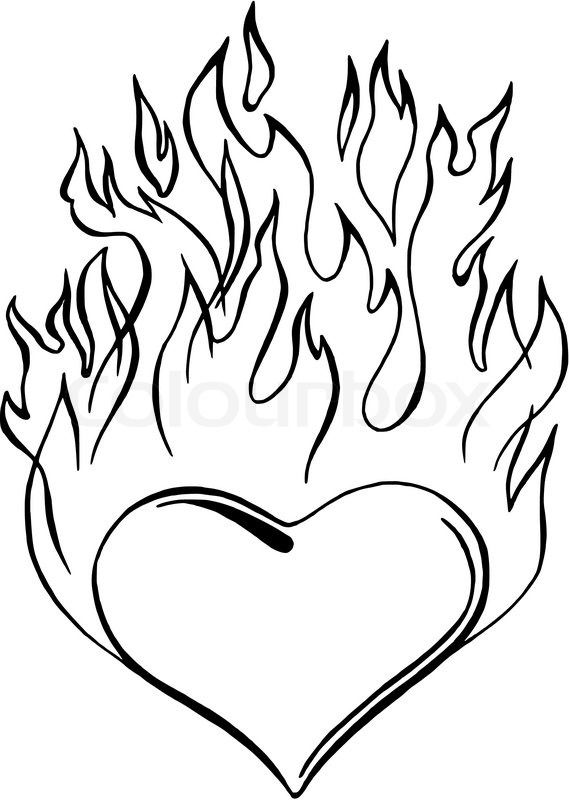 9329988 Flaming Heart Jpg 569 800 Coloring Pages Skull