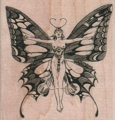 Rubber stamp Butterfly woman scrapbooking supplies number 4281 unmounted, cling stamp,wood stamp