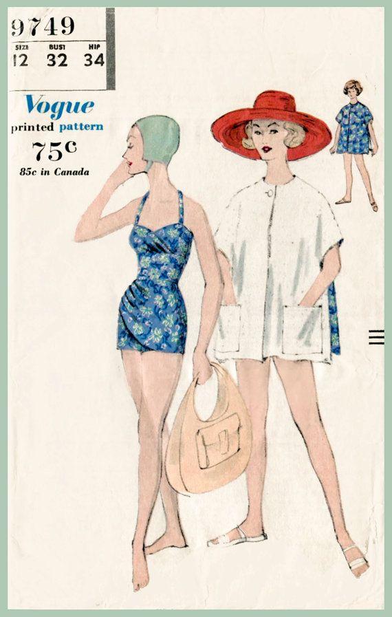1950s 50s vintage swimsuit sewing pattern bikini beach swim bathing ...